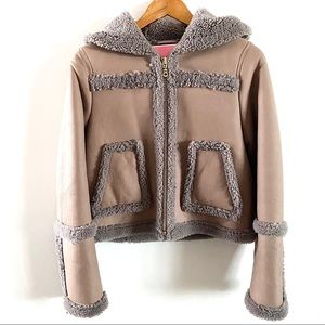 Kate Spade Leather Sherpa Zip Up Hooded Jacket 4